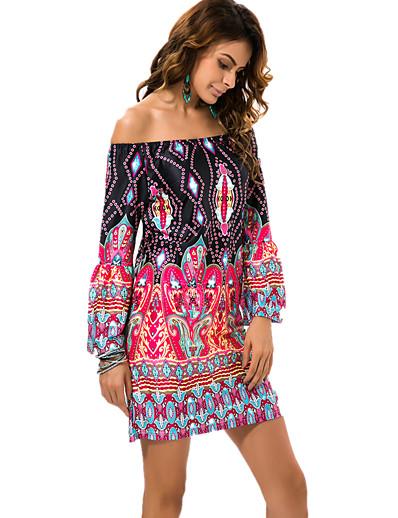 cheap Boho Dresses-Women's Off Shoulder Beach Boho Mini Shift Dress - Tribal Crane, Print Off Shoulder Summer Black Fuchsia Green M L XL XXL