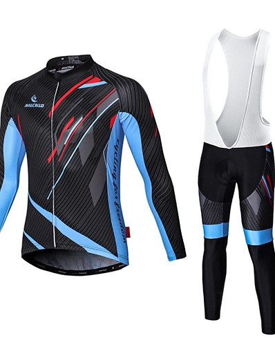 cheap NEW IN-Malciklo Men's Long Sleeve Cycling Jersey with Bib Tights White Black Bike Tights Clothing Suit Breathable 3D Pad Quick Dry Sports Coolmax® Elastane Lycra Geometry Mountain Bike MTB Road Bike Cycling