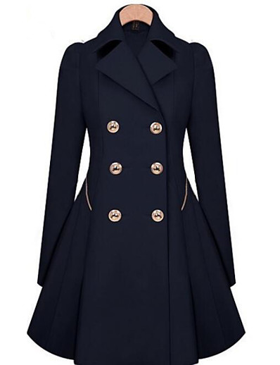 cheap OUTERWEAR-Women's Going out / Work Street chic Fall / Winter Long Coat, Solid Color Crew Neck Wool / Others Black / Navy Blue / Khaki