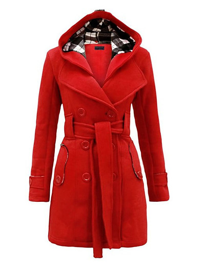 cheap Outerwear-Women's Trench Coat Solid Colored Classic Style Chic & Modern Winter Long Coat Long Daily Wear Long Sleeve Faux Leather Coat Tops Purple