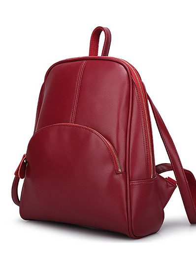 cheap Bags-PU Leather / Polyurethane Leather Commuter Backpack Casual Black / Wine / Fuchsia