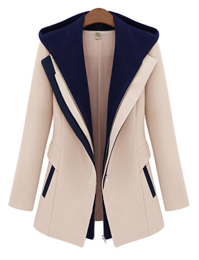cheap Jackets-Women's Daily Fall / Winter Regular Jacket, Color Block Hooded Long Sleeve Rayon / Polyester Black / Beige M / L / XL