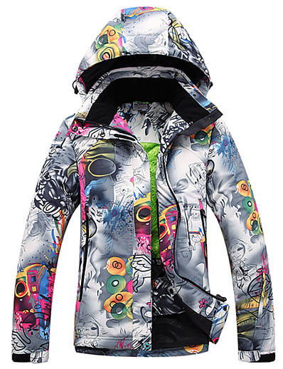cheap SPORTSWEAR-Women's Ski Jacket Ski / Snowboard Winter Sports Thermal / Warm Waterproof Windproof Polyester Winter Jacket Ski Wear / Floral Botanical