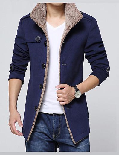 cheap Men's Outerwear-Men's Jacket Winter Daily Regular Coat Shirt Collar Slim Basic Jacket Long Sleeve Solid Colored Navy Blue Khaki Black / Faux Fur