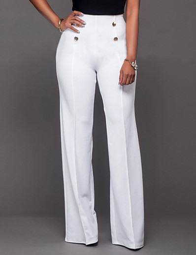 cheap Pants & Skirts-Women's Daily Going out Bootcut / Wide Leg Pants - Solid Colored Formal Style Black Wine White S M L