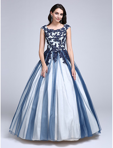 c3e51fa5c0f ADOR Evening Dress Ball Gown   Ball Gown Scoop Neck Floor Length Lace Over  Tulle Color Block with Beading