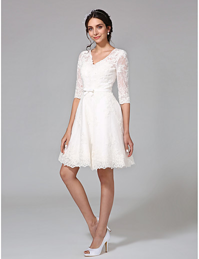 38f05290979 ADOR A-Line V Neck Knee Length All Over Lace Wedding Dresses with Bowknot    Bow(s)   Buttons