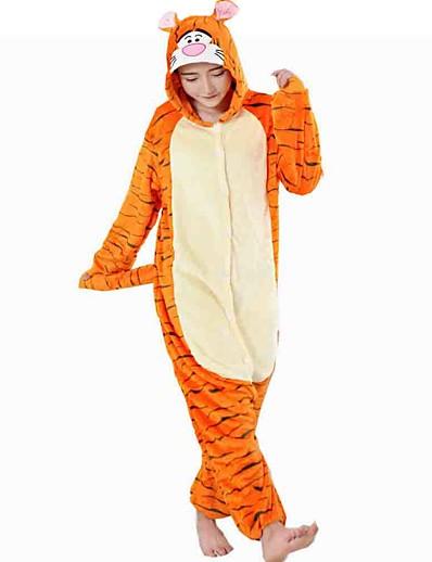 cheap Kigurumi Pajamas-Kigurumi Pajamas Adults' Tiger Onesie Pajamas Flannel Toison Orange Cosplay For Men and Women Animal Sleepwear Cartoon Festival / Holiday Costumes / Leotard / Onesie