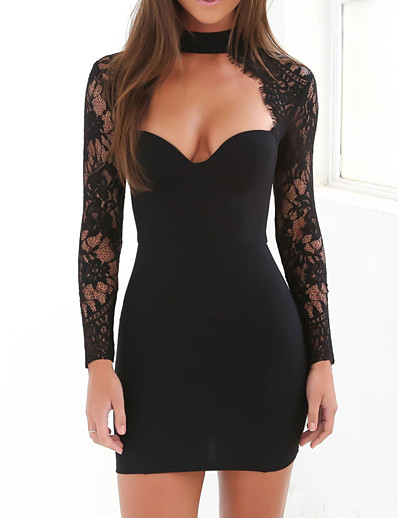 cheap Elegant Dresses-Women's Choker Daily Going out Club Street chic Sophisticated Bodycon Sheath Dress - Solid Colored Lace Spring White Black M L XL / Sexy / Skinny