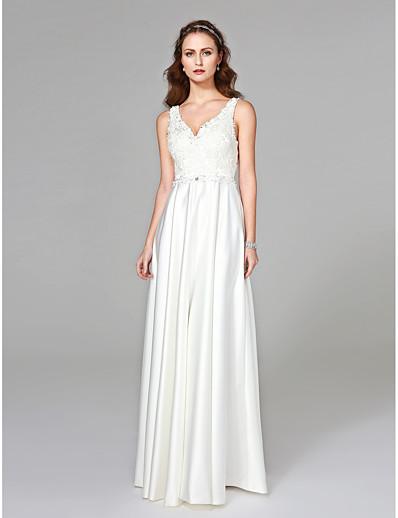 5d550c633 ADOR Sheath / Column V Neck Floor Length Satin Wedding Dresses with Beading  / Appliques / Button