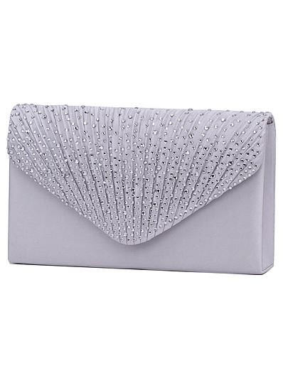cheap Bags-Women's Crystal / Rhinestone Polyester Evening Bag / Tri-fold Rhinestone Crystal Evening Bags Navy Blue / Almond / Wine / Wedding Bags / Wedding Bags