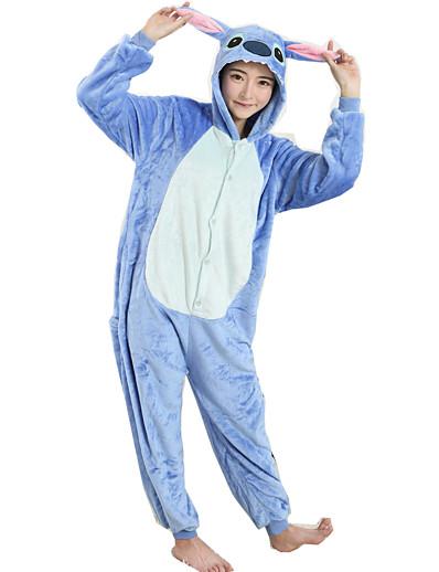 cheap Kigurumi Pajamas-Halloween Props Kigurumi Pajamas Adults' Cartoon Blue Monster Onesie Pajamas Flannel Toison Purple / Yellow / Blue Cosplay For Men and Women Animal Sleepwear Cartoon Festival / Holiday Costumes