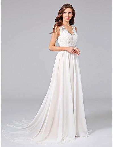 459f89471 ADOR A-Line V Neck Court Train Chiffon / Lace Wedding Dresses with  Appliques / Lace / Sash / Ribbon