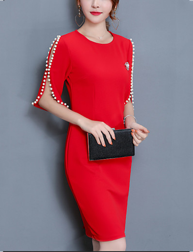 cheap Work Dresses-Women's Plus Size Going out Sheath Dress - Solid Colored Red, Beaded Spring Cotton Black Red XXXL XXXXL XXXXXL / Slim