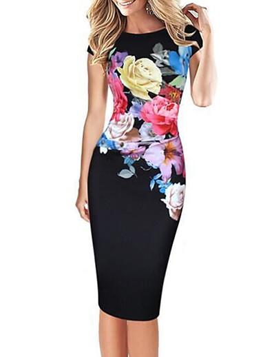cheap Work Dresses-Women's Floral Plus Size Party Daily Street chic Bodycon Dress - Floral Print Blue Green Black XXXL XXXXL XXXXXL / Slim