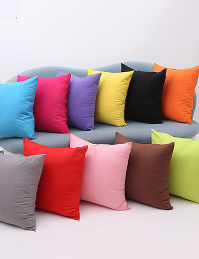 cheap Home & Garden-1 pcs Cotton Pillow Cover, Solid Colored Multicolor Simple Square Zipper Traditional Classic Outdoor Cushion for Sofa Couch Bed Chair