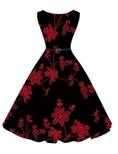 cheap Vintage Dresses-Women's Floral Party / Daily Vintage A Line Dress - Floral Print Black XL XXL XXXL
