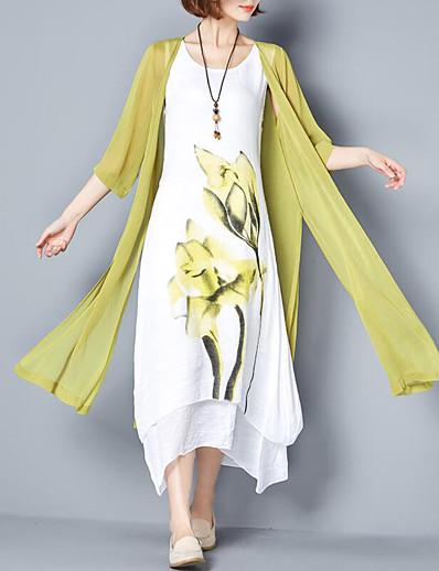 cheap Mother Dresses-Women's Floral Plus Size Weekend Chinoiserie Maxi Loose Two Piece Dress - Floral Print Summer Cotton Pink Gray Purple XXXL XXXXL XXXXXL