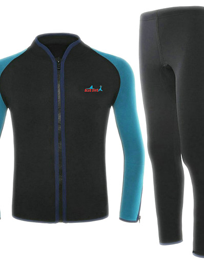 cheap Surfing, Diving & Snorkeling-Bluedive Men's Full Wetsuit 2mm Neoprene Diving Suit Thermal / Warm Quick Dry Long Sleeve 2-Piece Front Zip - Swimming Diving Surfing Patchwork / Stretchy / 2 Piece