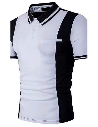cheap Men's Tops-Men's Polo Color Block Patchwork Short Sleeve Daily Slim Tops Cotton Active Shirt Collar White Black / Summer