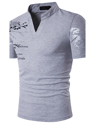 cheap MEN-Men's Graphic Polo Print Short Sleeve Daily Slim Tops Cotton Active Stand Collar White Black Red / Summer