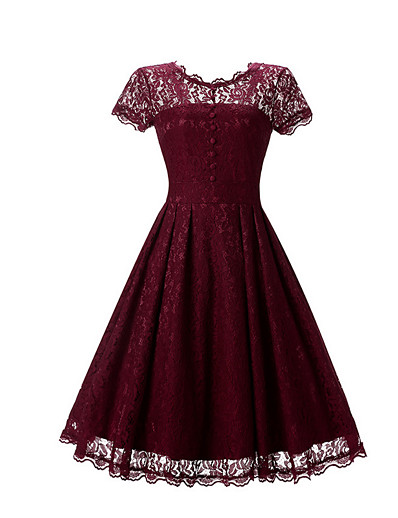 cheap Elegant Dresses-Women's Lace Party Work Vintage Sophisticated Swing Dress - Solid Colored Black Navy Blue Wine L XL XXL