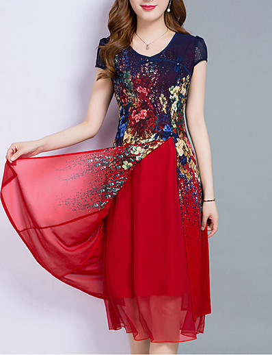 cheap Mother Dresses-Women's Plus Size Going out Chiffon Dress - Floral Layered Print Summer Royal Blue Red M L XL XXL
