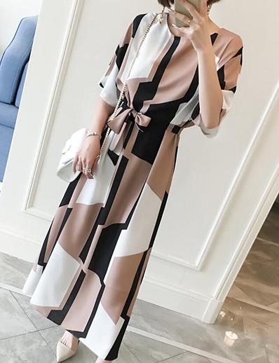 cheap Work Dresses-Women's Plus Size Daily Work Weekend Maxi Shift Dress - Geometric Print Summer Light Brown XL XXL XXXL