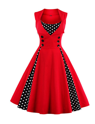 cheap Plus Size Dresses-Women's Plus Size Going out Vintage Party 1950s A Line Dress - Polka Dot Patchwork Red, Polka Dots Button Color Block Wine Fuchsia Green S M L XL