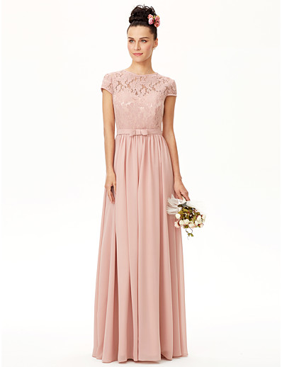 0bbf738a968 ADOR A-Line Jewel Neck Floor Length Chiffon   Corded Lace Bridesmaid Dress  with Bow(s)   Sash   Ribbon   Pleats
