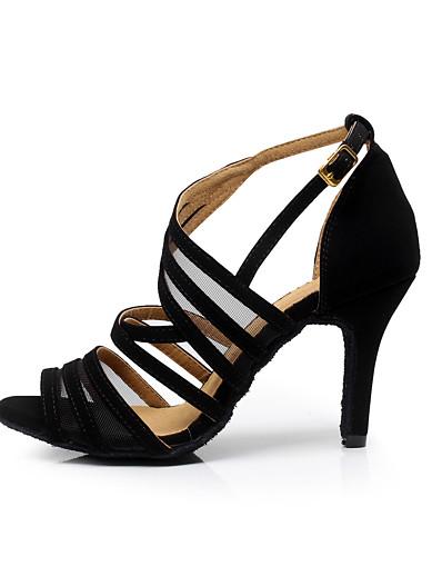 cheap Pumps & Heels-Women's Dance Shoes Flocking Buckle Sandal Stiletto Heel Customizable Black / Practice / EU42