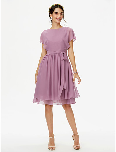 733d518b3b4 ADOR A-Line Jewel Neck Knee Length Chiffon Bridesmaid Dress with Bow(s)  Sashes   Ribbons Pleats