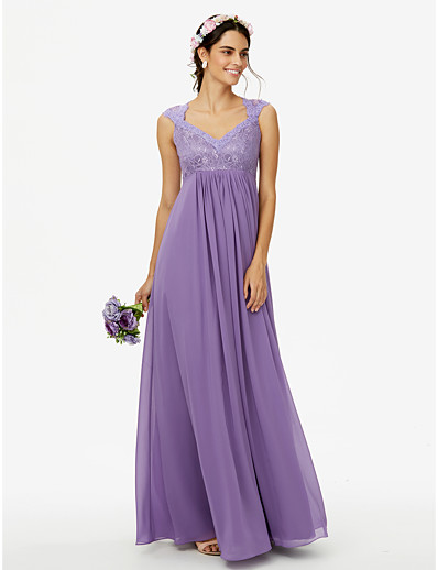defa69a9dde ADOR Sheath   Column Queen Anne Floor Length Chiffon Corded Lace Bridesmaid  Dress with Lace Pleats