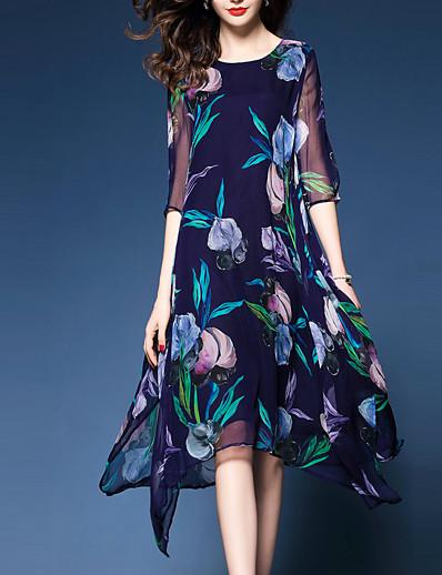 cheap Mother Dresses-Women's Floral Plus Size Going out Chiffon Dress - Floral Print Blue XL XXL XXXL