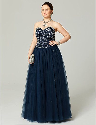 4780a30ad52 ADOR Prom Dresses Plus Size A-Line Sweetheart Neckline Floor Length Tulle  Sparkle   Shine with Beading