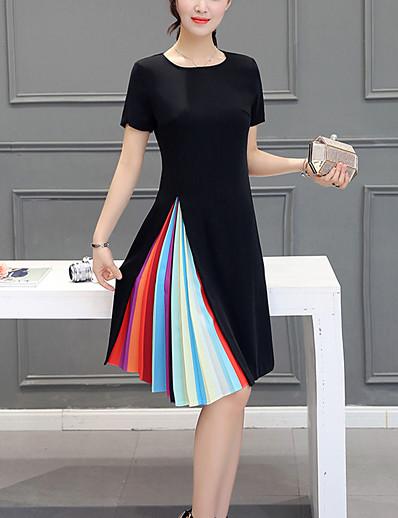 cheap Plus Size Dresses-Plus Size Going out Weekend A Line Dress Color Block Pleated Summer Black Fuchsia XL XXL XXXL