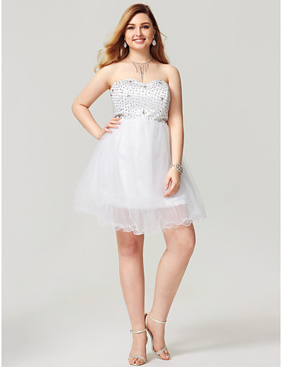 aeb751a2619 ADOR Cocktail Dresses Plus Size A-Line Sweetheart Short   Mini Satin Tulle  Cocktail Party   Homecoming   with Crystal Detailing