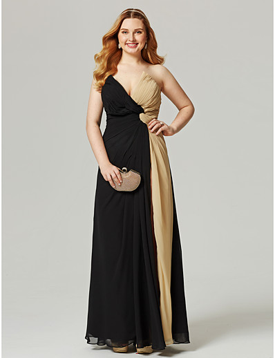 6ca71b231f2 ADOR Prom Dresses Plus Size Sheath   Column V Neck Floor Length Chiffon  Color Block with Split Front