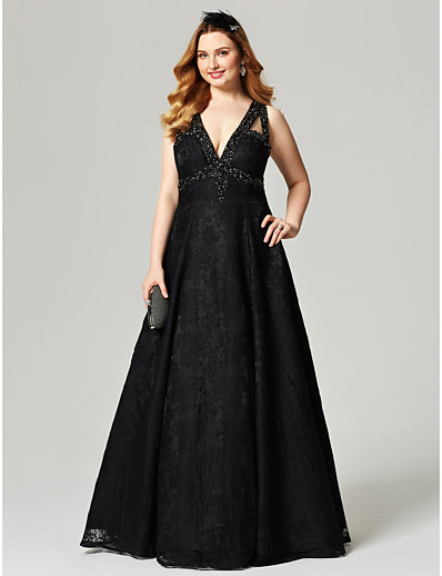 60e4ec72439 ADOR Prom Dresses Plus Size A-Line V Neck Floor Length All Over Lace Open  Back with Beading   Crystals