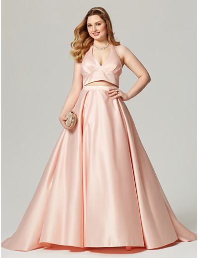 8a2a81b9f26 ADOR Prom Dresses Plus Size A-Line Halter Neck Sweep   Brush Train Satin Open  Back   Two Piece with Pleats