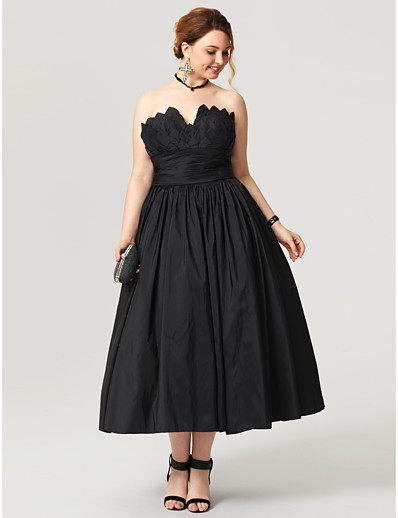 872a05d3909 ADOR Prom Dresses Plus Size Ball Gown Notched Tea Length Taffeta Little  Black Dress   Open Back with Ruched   Pleats