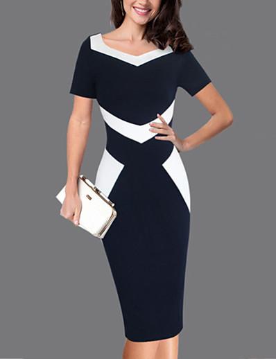 cheap Work Dresses-Women's Plus Size Work Slim Sheath Dress - Color Block Blue & White, Patchwork Sweetheart Neckline Spring Black XXXL XXXXL XXXXXL