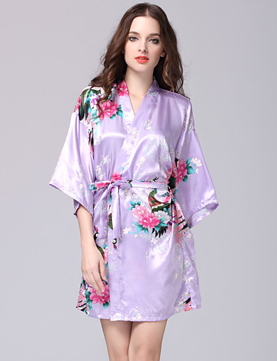cheap Satin Pajamas-Women's Print Robes / Satin & Silk Nightwear Floral Light Blue Royal Blue Lavender L XL XXL