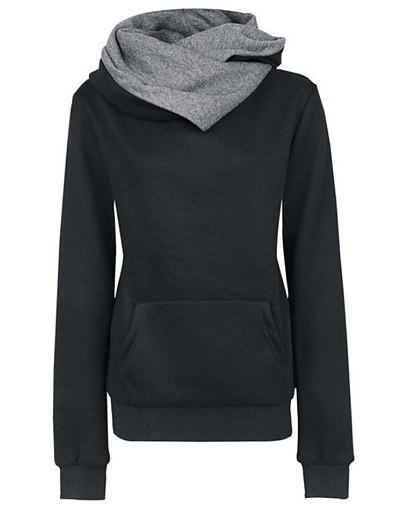 cheap Hoodies & Sweatshirts-Women's Pullover Hoodie Sweatshirt Color Block Going out Chic & Modern Hoodies Sweatshirts  Slim Yellow print Blue Gray