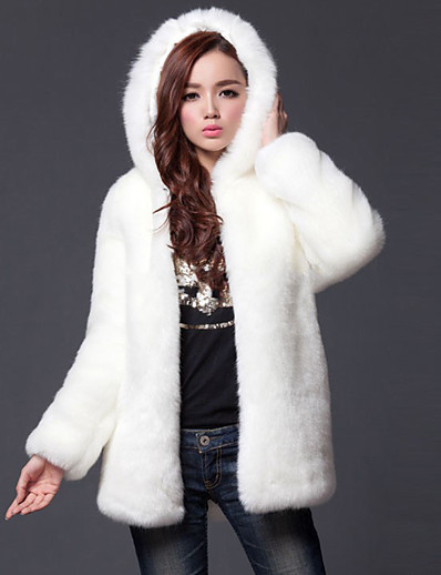 cheap Furs & Leathers-Women's Going out Simple / Casual Fall / Winter Plus Size Regular Fur Coat, Solid Colored Hooded Long Sleeve Faux Fur White / Black