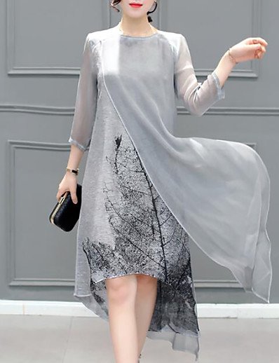 cheap Plus Size Dresses-Women's Plus Size Going out Asymmetrical Chiffon Dress - Graphic Layered Summer Gray XXXL XXXXL XXXXXL