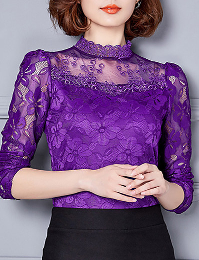 cheap TOPS-Women's Daily Going out Weekend T-shirt - Solid Colored Lace Stand Purple / Fall / Winter
