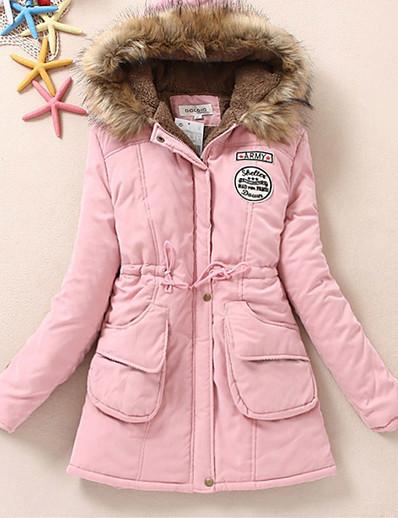 cheap Down& Parkas-Women's Daily / Weekend Solid Colored Long Padded, Cotton / Fox Fur Long Sleeve Camel / Khaki / Watermelon XL / XXL / XXXL / Fleece Lining