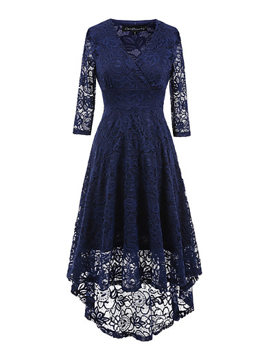 cheap Elegant Dresses-Women's Asymmetrical Holiday Going out Vintage Asymmetrical Sheath Dress - Solid Colored Black, Lace V Neck Spring Navy Blue Yellow Wine L XL XXL