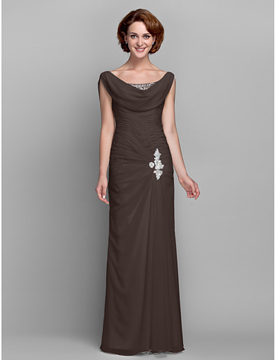 414cd9bc2f6 ADOR Sheath   Column Cowl Neck Floor Length Chiffon Mother of the Bride  Dress with Beading   Buttons   Crystals